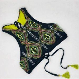 RADIO FIJI Black & Yellow Lace Up Back Swim Top